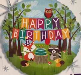 Happy Birthday mit Fuchs, Waschbär, Igel, Eichhörnchen und Eule