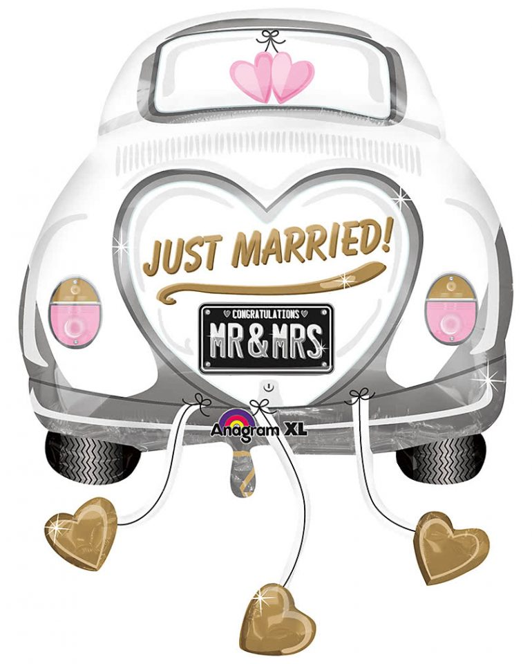 JUST MARRIED - MR & MRS - Hochzeitsauto - Folienballon 80 cm