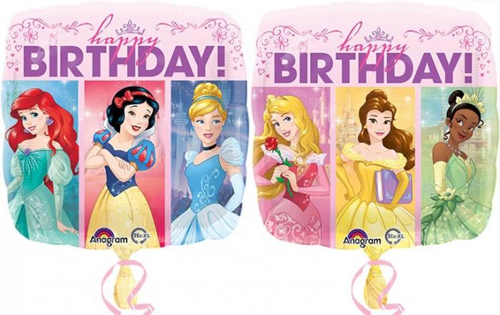 Arielle, Schneewittchen, Cinderella, Dornröschen, Belle und Tiana wünschen happy BIRTHDAY! Folie 45 cm