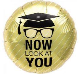 NOW LOOK AT YOU - Zum Abschluss, zur bestandenen Prüfung! Runder Folienballon 45 cm, gold/schwarz