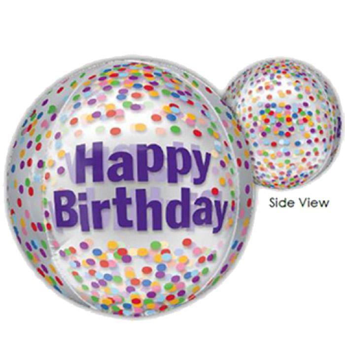 Happy Birthday - Orbz - kugelrunder Ballon 45 cm Durchmesser mit bunten Konfetti - durchsichtig