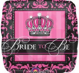 BRIDE TO BE - Folienballon mit Krone in den Farben pink/schwarz/weiß - genau das Richtige für den Polterabend/HenNight