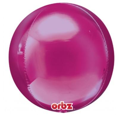 Orbz - kugelrunder Folienballon 45 cm - magenta