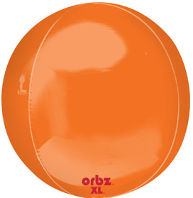 Orbz - kugelrunder Folienballon 45 cm - orange