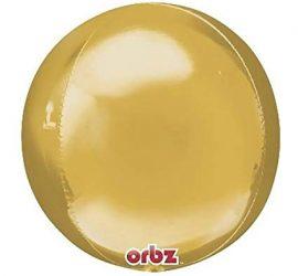 Orbz - kugelrunder Folienballon 45 cm - goldfarben