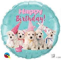 Süße Welpen gratulieren zum Geburtstag! Happy Birthday! Folienballon 45 cm in den Farben türkis/weiß/rosa