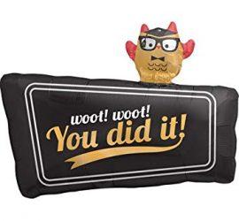 You did it! Zum Abschluss, zur bestandenen Prüfung! Folienballon mit Eule!