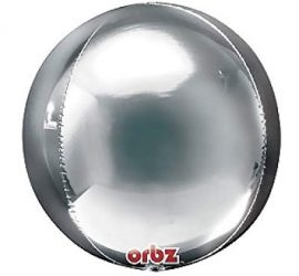 Orbz - kugelrunder Folienballon 45 cm - silber