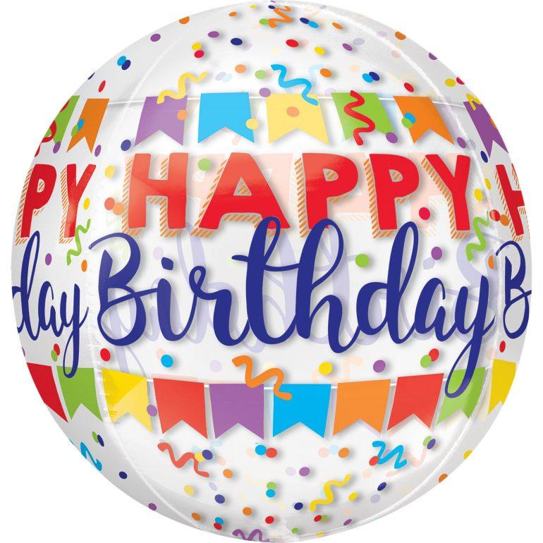 Happy Birthday - Orbz - kugelrunder Ballon 45 cm Durchmesser mit bunten Wimpeln und Konfetti - durchsichtig