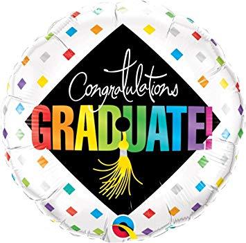 Congratulations GRADUATE! Zum Abschluss, zur bestandenen Prüfung! Runder Folienballon 45 cm schwarz/bunt