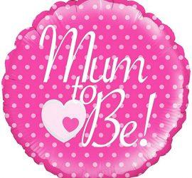 Mum to Be! - Für die Babyparty/Babyshower - für die werdende Mama! Folienballon 45 cm; pink mit weißer Aufschrift