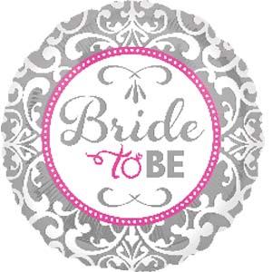 Bride to be - runder Folienballon in silber/weiß/pink passend zum Polterabend/HenNight