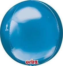 Orbz - kugelrunder Folienballon 45 cm - blau