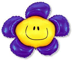 Smiley-Blume mit lilafarbenen Blütenblättern Folienballon 60 cm