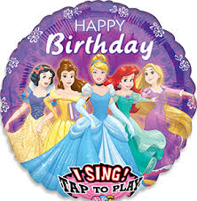 Happy Birthday-Ballon mit den Lieblingsprinzessinnen, die singend gratulieren! Singender Folienballon!