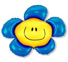 Smiley-Blume mit blauen Blütenblättern Folienballon 60 cm