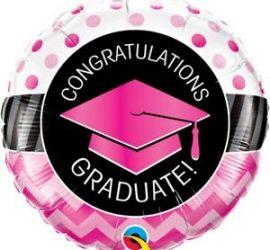 Congratulations GRADUATA! Für die bestandene Prüfung, zum Abschluss! Runder Folienballon 45 cm schwarz/pink