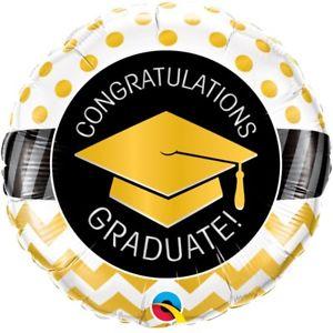 Congratulations GRADUATA! Für die bestandene Prüfung, zum Abschluss! Runder Folienballon 45 cm schwarz/gold