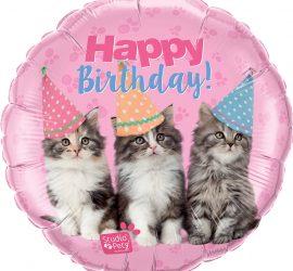Happy Birthday! wünschen drei süße Katenbabys auf einem Folienballon 45 cm - für alle, die Katzen lieben!