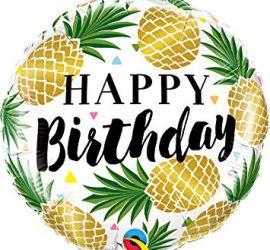 Ein Geburtstagsballon voller Ananas! Happy Birhtday! Folienballon 45 cm