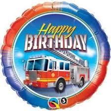 Happy BIRTHDAY für Feuerwehr-Fans! Runder Folienballon 45cm mit Feuerwehrauto!