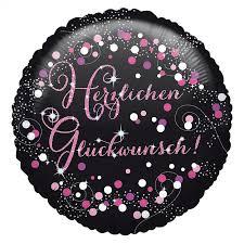 Herzlichen Glückwunsch! Runder Folienballon 45 cm in den Farben schwarz/silber/pink/lila mit Glitzer!