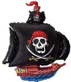 Piratenschiff - Schiff mit schwarzem Segel und Totenkopf mit Schwertern darauf