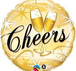Cheers - runder goldfarbener Folienballon mit zwei Sektgläsern und schwarzem Schriftzug Cheers; 45 cm