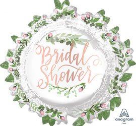 runder Folienballon zum Polterabend/Bridal Shower mit rosafarbenen Rosen und grünen Blättern