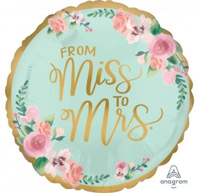 From Miss to Mrs. - runder Folienballon für den Polterabend in den Farben gold, türkis, rosa
