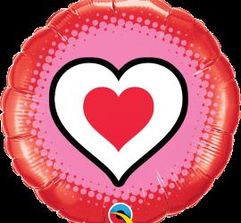 runder Folienballon mit aufgemalten Herz in den Farben rot, pink, schwarz, weiß - 45 cm