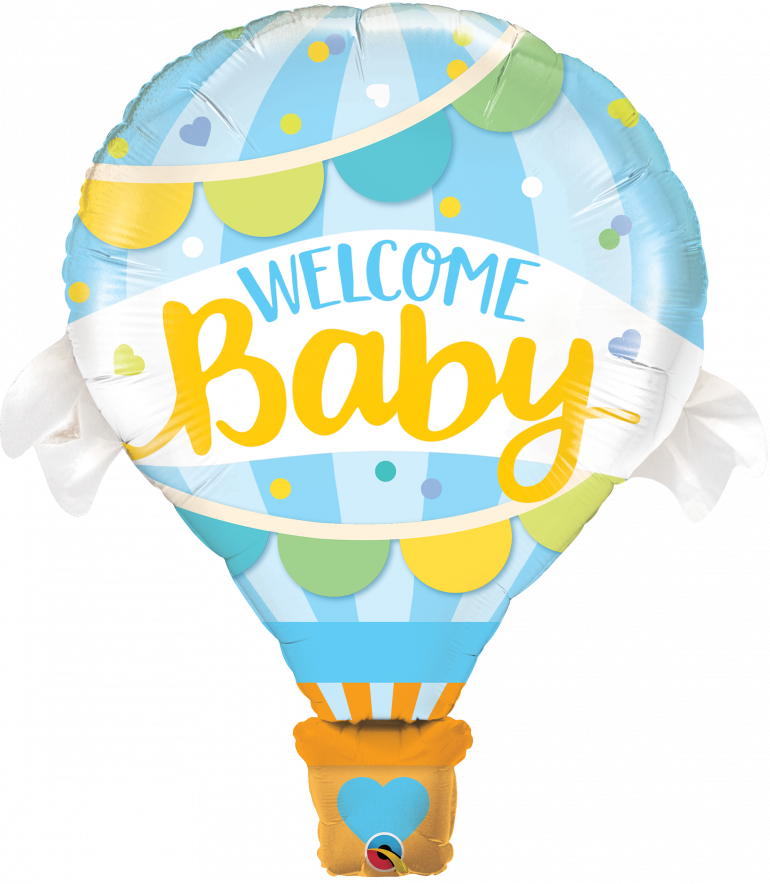 Welcome Baby - blauer Heißluftballon mit blau/gelber Schrift - zur Geburt!