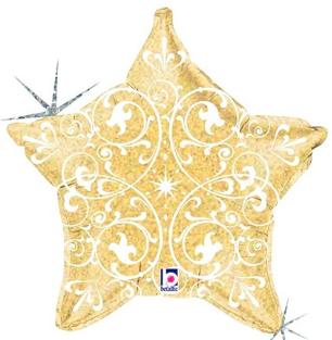 goldfarbener Folienstern mit weißen Ornamenten, glitzernd, 50 cm