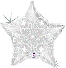silberfarbener Glitzerstern mit weißen Ornamenten - Folienballon 50 cm