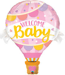 Welcome Baby - rosafarbener Heißluftballon mit rosa/gelber Schrift - zur Geburt!
