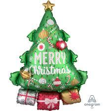 Weihnachtsbaum mit Aufschrift Merry Christmas und einigen Geschenken unter dem Baum - Folienballon 80 cm