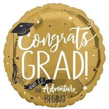 Congrats GRAD! And so the Adventure BEGINS! Zum Abschluss, zur bestandenen Prüfung - Folienballon 45 cm in den Farben gold/schwarz/weiß