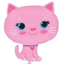 Katze - pinkfarben - 50 cm Folienballon