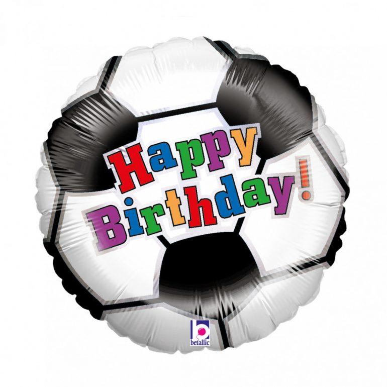 Fußball mit der Aufschrift Happy Birthday - runder Folienballon 45 cm