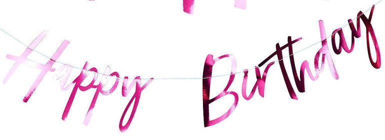 Happy Birthday Banner in pink