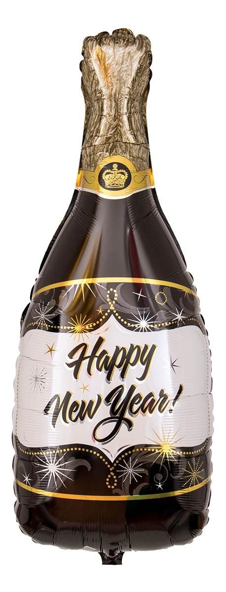 schwarz/goldene Champagnerflasche mit der Aufschrift Happy New Year! Folienballon 86 cm