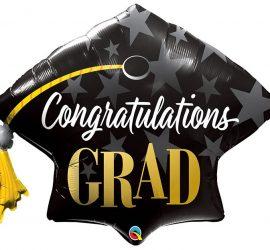 Congratulations GRAD - schwarzer Hut mit weißer und goldfarbener Aufschrift