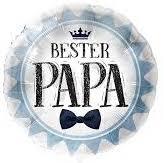 Bester Papa - runder Folienballon 45 cm blau/weiß