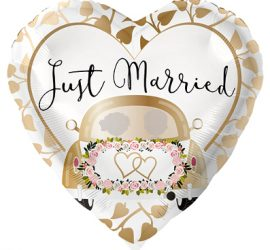 Just Married - Folienherz gold/weiß 70 cm