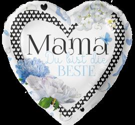 Mama Du bist die Beste - Folienherz 45 cm blau/weiß
